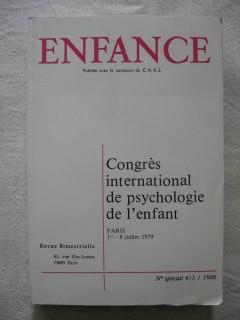 Enfance, congrés international de psychologie de l'enfant