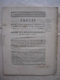 Précis pour le sieur Joseph-Etienne Vincent fils, notaire à la résidence de Lavalla, canton de Saint Chamond, département de la