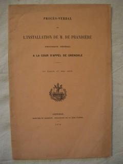 Procés verbal de l'installation de M. de Prandière, procureur général à la cour d'appel de Grenoble