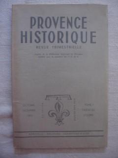 Provence historique, octobre-décembre 1950, tome I, fascicule 2.