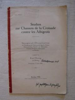 Studien zur Chanson de la croisade contre les Albigeois