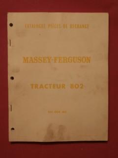 Catalogue de pièces de rechange Massey Fergusson tracteur 802