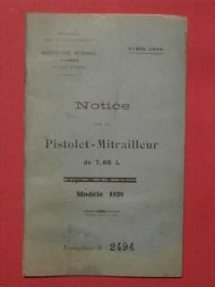 Notice sur le pistolet mitrailleur de 7.65L, modèle 1938