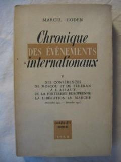 Chronique des évènements internationaux
