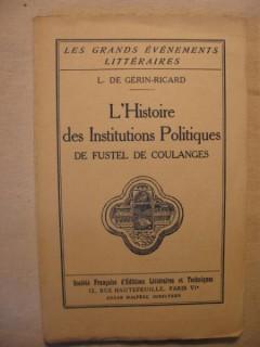 L'histoire des institutions politiques de Fustel de Coulanges