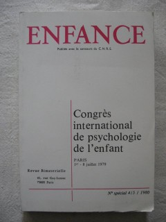 Enfance, congrés international de psychologie de l'enfant