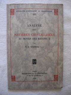 Analyse des matières cristallisées au moyen des rayons X
