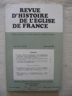 Revue d'histoire de l'église de France, tome LVII, janvier-juin 1972.