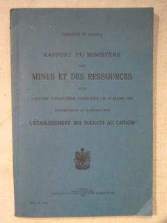 Rapport du ministère des mines et ressources pour l'année financière terminée le 31mars 1944