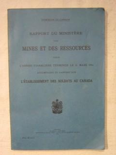Rapport du ministère des mines et ressources pour l'année financière terminée le 31mars 1943
