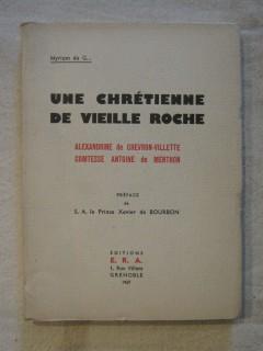 Une chrétienne de vieille roche, Alexandrine de Chevron-Villette, comtesse Antoine de Menthon