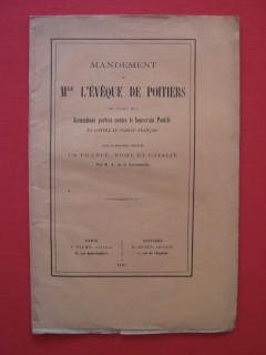 Mandement de Mgr l'évêque de Poitiers au sujet des accusations portés contre le souverain pontife et contre le clergé français