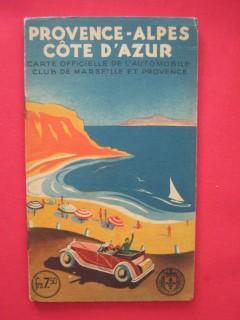 Provence Alpes Côte d'Azur, carte officielle de l'automobile club de Marseille et de Provence