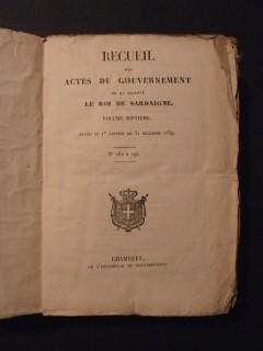 Recueil des actes du gouvernement de sa majesté le roi de Sardaigne