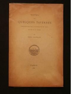 Notes sur quelques tavernes fréquentées par l'université de Paris aux XIVe et XVe siècle
