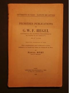 Premières publications de Hegel