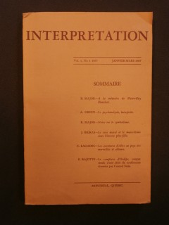 Interprétation, volume 1, n°1